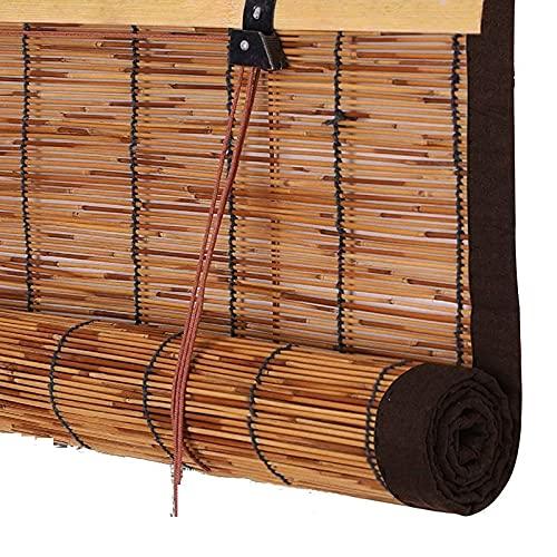 Persiana Enrollable de Bambú Black out para Ventanas, Persianas Romanas Retro Persianas Exteriores de Caña Tejidas A Mano Personalizables sin Perforaciones Bordes Marrones Personalizables