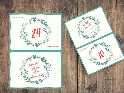Dein fabelhafter Adventskalender | 24 Gutscheine für kleine Aufmerksamkeiten | A6 Karten | Geschenk zum Advent
