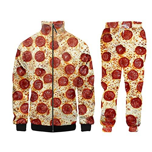 UJDKCF Casual 3D Divertido Pizza impresión Conjuntos de Hombres con Cremallera de Invierno con Capucha Sweetpants 2pcs CJPAL0322 XXL