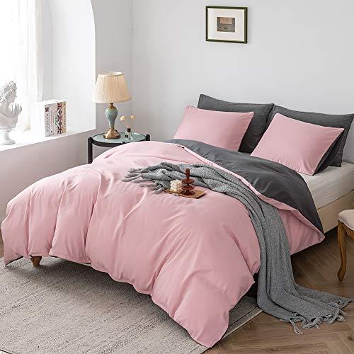Damier - Juego de ropa de cama de 135 x 200 cm, color rosa, rosa palo y gris lisos, reversible, 2 piezas, de microfibra suave, funda nórdica con cremallera y 1 funda de almohada de 80 x 80 cm