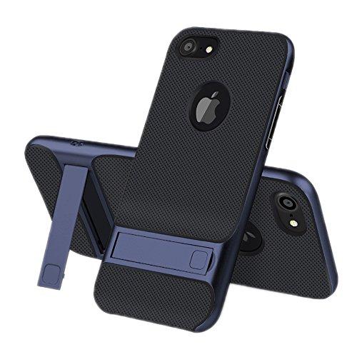iPhone 7 hoes, JIEAO Ultra Slim hoes case [stootvast anti-kras] siliconen beschermhoes met kickstand voor Apple iPhone 7 (4,7 inch) iPhone 7 marineblauw