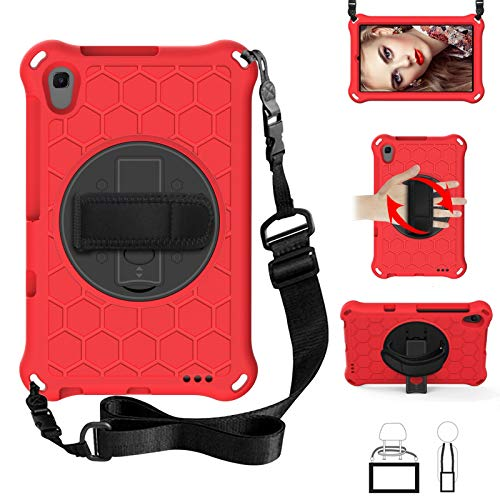 Case for Huawei MatePad T8 8inch 2020(Kobe2-L03/Kob2-L09),EC-Touch Smart Shockproof Impact-Resistant Silicone EVA Rotating Stand Cover Case with Hand Strap,Shoulder Strap (Red+ Black)