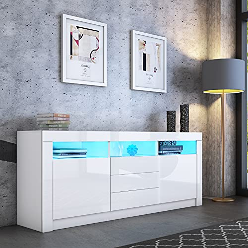 Sideboard High Gloss Sideboard Cabinet Storage Cupboard Display Cabinet with LED Lights 2 Doors 3 Drawers for Dining Room Living Room Modern (White)