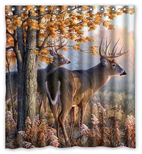 KXMDXA Kreativer Duschvorhang mit Weißschwanz-Reh-Motiv, Retro-Stil, wasserdicht, Polyester, 168 x 183 cm