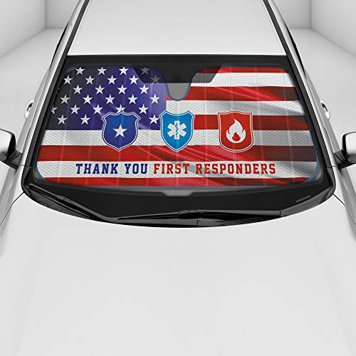 Auto Windshield Sun Shade, UV Blocker Visor - Thank You First Responders Design, FD, PD, EMS, FrontLiners, Essential Heroes Appreciation, Patriotic American Flag Background