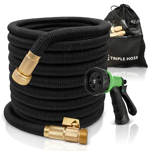 "TruTec Garden Hose | Strongest Expandable Hose Triple Layer Latex Core | ¾"" Solid Brass Shut Off Valve | Heavy Duty Nylon Outer Cover | Flexible Expanding Hose | Storage | Gift Bag (75, Black)"