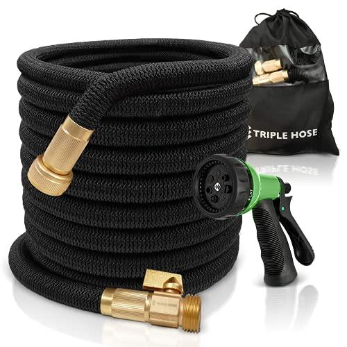 "TruTec Garden Hose | Strongest Expandable Hose Triple Layer Latex Core | ¾"" Solid Brass Shut Off Valve | Heavy Duty Nylon Outer Cover | Flexible Expanding Hose | Storage | Gift Bag (50, Black)"