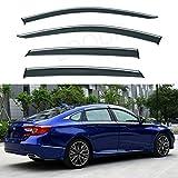 LQQDP Set of 4 Front+Rear Smoke Tint With Chrome Trim Sun/Rain Guard Outside Mount Tape-On/Clip-On PVC Window Visors For 18-20 Honda Accord 4-Door Sedan