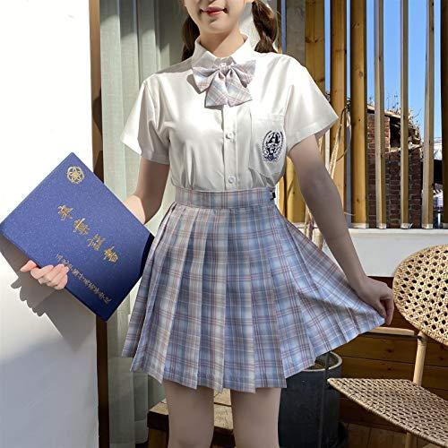 HSPHFX Dreamy Blue Girls Uniformes Anime Cosplay High School Japanese Student Étudiante Classe Vêtements Été Douce Craviche Sweet Crousinet Bow Rouge Et Escosse Kit de jupe à carreaux pour la cérémoni