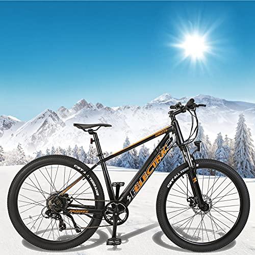 Bicicleta Eléctrica para Adultos 250 W Motor Mountain Bike de 27,5 Pulgadas Bicicleta eléctrica Inteligente Shimano 7 Velocidades Hombres Mujeres con Instrumento LCD Central & Autonomía Buena