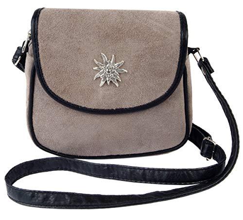 Schuhmacher Trachtentasche Dirndltasche Umhängetasche Wildleder mit Swarovski-Edelweiss taupe grau-braun