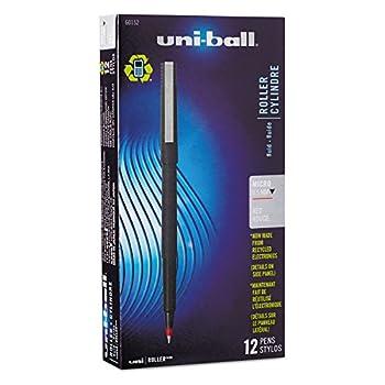 uni-ball 60152 Roller Ball Stick Dye-Based Pen Red Ink Micro Dozen