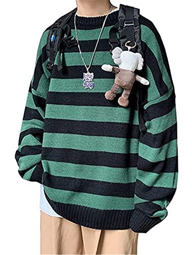 QPRER Autumn Striped Sweater Für Herren Lässiger Patchwork-Pullover Mit Langen Ärmeln Slim Sportswear Pullover Herrenmode Jacke Schwarz Grün,M.