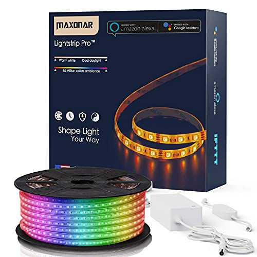 Maxonar LED Strip Lights Works with Alexa 32.8Ft/10M WiFi Wireless Smart Phone Controlled DIY Kit SMD 5050 RGB Multicolor Indoor Waterproof IP65 600LEDs Strip Light ,Works with Amazon Echo&Google Home