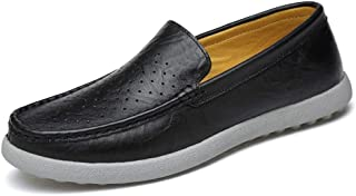 Xujw-shoes, Breathable Vegan Mens Loafers Leather Hollow Shoes for Men Driving Loafers Boat Moccasins Slip On Style PU Leather Lightweight Round Toe Easy Care Low Top