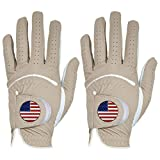 Golf Gloves Men Left Hand with Ball Marker Right Hand USA Flag Value 2 Pack, Premium Leather Weathersof Grip Soft Mens Glove Size Small Medium ML Large XL (Large, Brown-Worn on Left Hand)