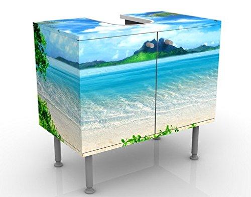 Apalis Waschbeckenunterschrank Traumurlaub 60x55x35cm Urlaub Sonne Strand Meer Palmen, Größe:55cm x 60cm