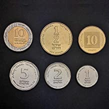 Complete Set of 6 Israeli Coins: 1/2, 1, 2, 5, 10 Sheqel 10 Agorot Official Currency NIS Collectible Money