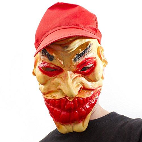 Goods+Gadgets Gangster Clown Masque intégral avec casquette Ganove en latex Joker Horreur Clown