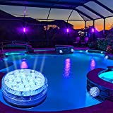 Luces LED sumergibles para piscina, 16 colores recargables sumergibles luces LED con mando a distancia RF, ventosas, imanes, luces subacuáticas para acuario estanque piscina fuente fiesta