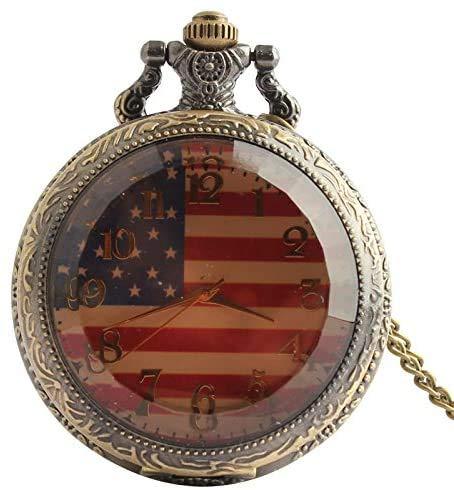 Aeromdale Taschenuhr, amerikanische Flagge, Zifferblatt, arabische Ziffern, transparentes Glas, gestreift, graviertes Quarzwerk, Calmshell, einfache klassische Legierung, Halskette, Geschenk