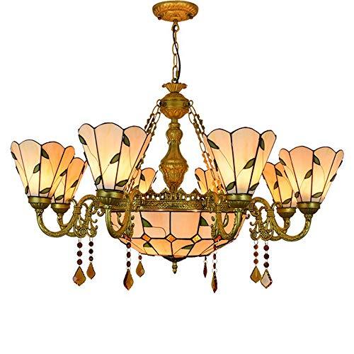MTTK Warm gefärbte Blätter im Tiffany-Stil-Kronleuchter gefertigte Glaspendelleuchte, große, mehrarmige Deckenleuchte