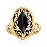 Ross-Simons Black Onyx Scroll Ring in 14kt Yellow Gold. Size 8
