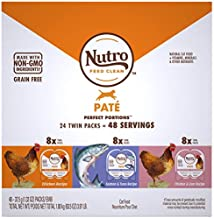 NUTRO Grain Free Natural Soft Wet Cat Food Paté Chicken Recipe, Salmon & Tuna Recipe, and Chicken & Liver Recipe Variety Pack, (24) 2.6 oz. PERFECT PORTIONS Twin-Pack Trays