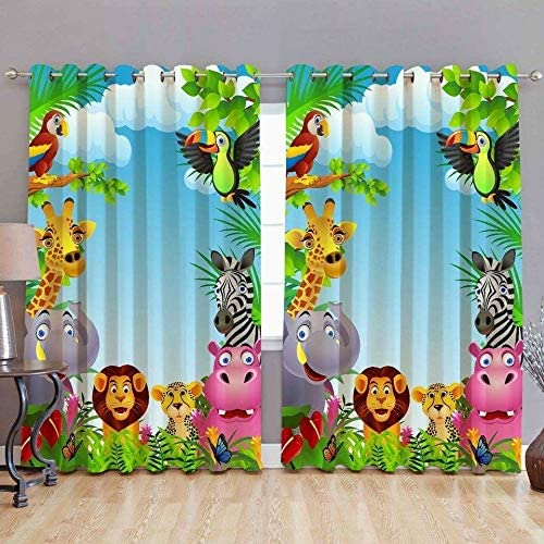 Harshika Home Furnishing Polyresin Animal Grommet Door Curtain, 7 Feet, Multicolour, Pack of 2