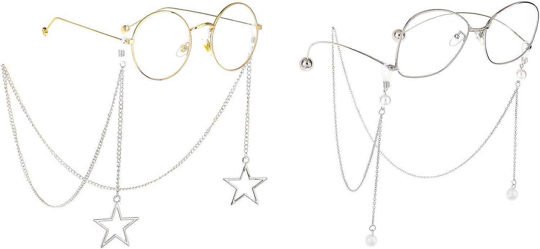 Testudineus 2PCS Pearl Star Pendant St Eyewear Chains Eyeglasses Ranking TOP8 Milwaukee Mall