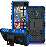 Nokia Lumia 530 Handy Tasche, FoneExpert® Hülle Abdeckung Cover schutzhülle Tough Strong Rugged Shock Proof Heavy Duty Case für Nokia Lumia 530 + Bildschirmschutzfolie (Blau)