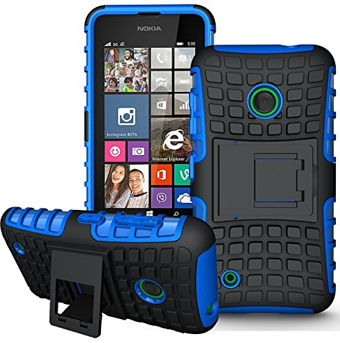 Nokia Lumia 530 Handy Tasche, FoneExpert® Hülle Abdeckung Cover schutzhülle Tough Strong Rugged Shock Proof Heavy Duty Hülle für Nokia Lumia 530 + Bildschirmschutzfolie (Blau)