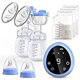 Electric Breast Pump, COULAX Dual Suction Breastfeeding Pump LED Touch Screen with 3 Modes 9 Levels, BPA Free, Memory Function, Rechargeable Breast Milk Pump with 10Pcs Breastmilk Bags, a Carry Bag