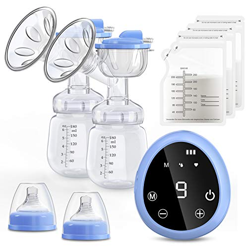 Elektrische Milchpumpe, COULAX Dual Suction Brustpumpe LED-Touchscreen mit 3 Modi, 9 Stufen, BPA-frei, Memory-Funktion, wiederaufladbare Milchpumpe mit 10-teiligen Milchbeuteln, Tragetasche
