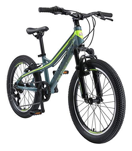BIKESTAR Alu Mountainbike Jugendfahrrad 20 Zoll ab 6-9 Jahre Hardtail | 7 Gang Shimano Schaltung, V-Bremse, Federgabel | Kinder Fahrrad Grau Gelb | Risikofrei Testen