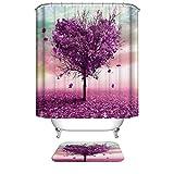 Duschvorhang, 183 x 183 cm, violetter Herzbaum, Digitaldruck, antibakteriell, wasserdicht, Polyester