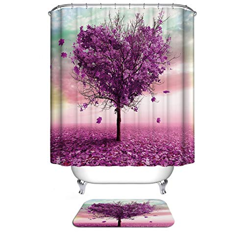 Dodou Love Heart Shape Maple Tree House Decor Shower Curtain Waterproof Fabric Polyester Set with Hooks(72' x 72')
