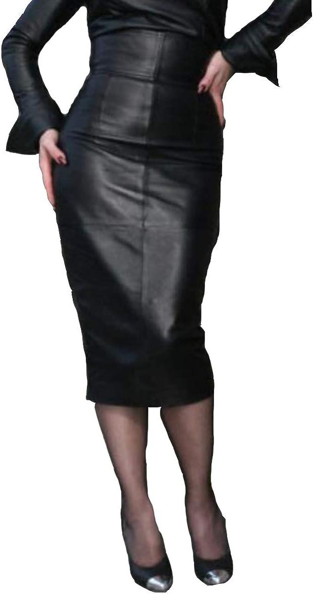 RedSeam Women's Leather Skirt Genuine Soft Lambskin Leather Below-Knee Corset Skirt RK011