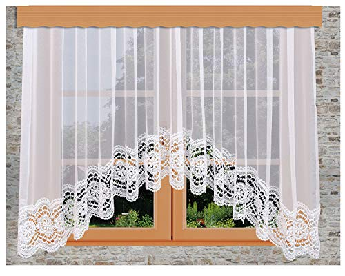 kollektion MT Spitzen-Store Eva weiß Bogen-Store mit breitem Abschluss aus echter Plauener Spitze Sockel-Gardine