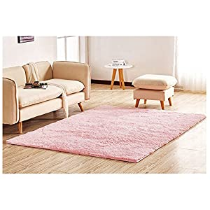 Hair Floor Rug Thick Super Soft Shaggy Rugs and Carpets Modern Runner Floor for Living Room Bedroom 6.6 Feet by 13.3 Feet,Pink