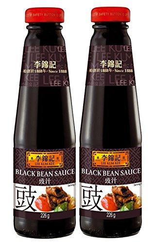 [ 2x 226g ] LEE KUM KEE Schwarze-Bohnen Sauce / Black Bean Sauce + ein kleines Glückspüppchen - Holzpüppchen