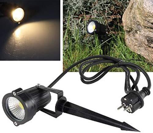 ChiliTec LED Pflanzen & Garten-Strahler 5Watt Warmweiss 430 Lumen 1,5m Kabel Erdspieß I Wasserfest IP44 I 230V Schwarz