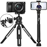 "6 in 1 Monopod Tripod Kit by Altura Photo – Universal 55"" Telescoping DSLR Camera, GoPro, Cell Phone Holder Selfie Stick with Tripod Base, 360 Ball Head and Carry Bag"