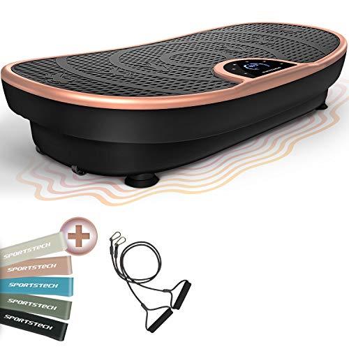 Novedad de Feria! Plataforma vibratoria VP250 elegante diseño curvo y compacto | Quema Grasa & Formación Músculos | Motor Silencioso con 180 niveles | Programas de Entrenamiento 7+1 | Opción yoga