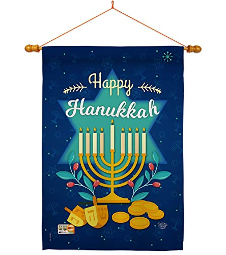 Ornament Collection HS191061-BO-03 Happy Winter Hanukkah Decorative Vertical House Flag Set, 28' x 40', Thick Fabric
