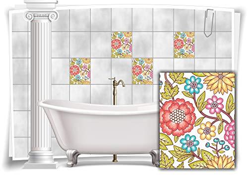 Medianlux Fliesen-Aufkleber Fliesen-Bild Kachel Blumen Malerei Bunt Sticker Bad WC Deko Küche Digitaldruck Folie, 12 Stück, 20x25cm