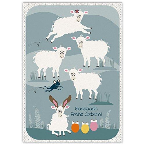 Baen. Vrolijk Pasen. Wil de kikker tussen de lamellen op deze paaskaart • vrolijke premium wenskaart met paasmotieven met enveloppen voor vrienden, familie en collega 's.