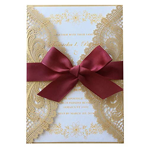 "Picky Bride Golden Lace Wedding Invitations with Burgundy Ribbon Bow 5 x 7"" Envelopes Included - Set of 50 pcs (Blank Invitations)"