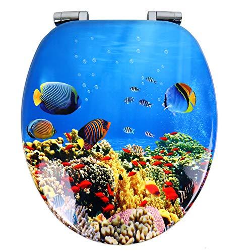 OGOMONDO Sedile Wc Copri Water Universale Frizionato Colorato Fantasia MDF Chiusura Rallentata