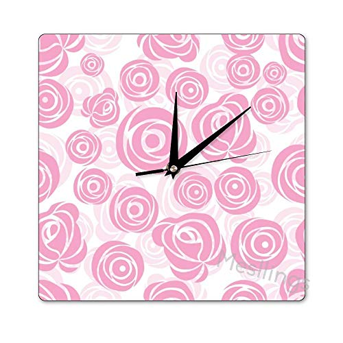 Mesllings Scale-Free Wall Clocks Pink Rose Seamless Pattern (1) Square